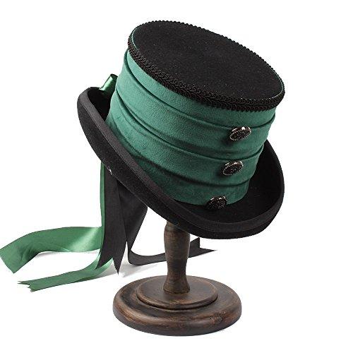 Sunny&Baby Steampunk Top Hut für Frauen / Männer viktorianischen Stil Mad Hatter Bowler Caps mit Ribbion & Verschluss Dekor Mode ( Color : 1 , Size : 55CM ) Viktorianischer Hut-frauen