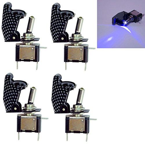 Qiorange 4Pcs 12V 20A Auto Lastwagen KFZ Boot Kohlefaser Blau LED Licht Schalter EIN/AUS Wippenschalter Kippschalter (Blau 4 Pcs)