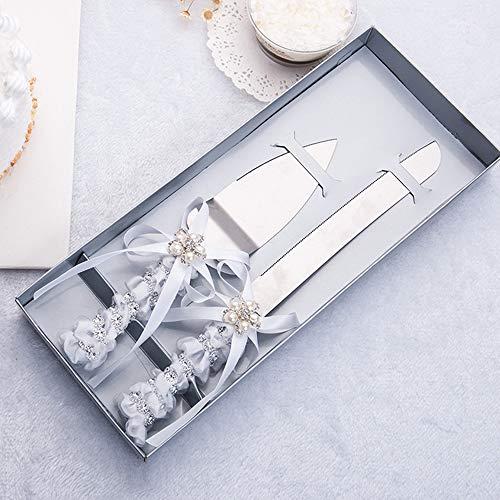 DÉCOCO Hochzeitstorte Messer und Server-Set, Seide & Perle, Set 2-teilig mit Geschenk Boxen, Tortenbesteck für Hochzeit Taufe, Edelstahl poliert