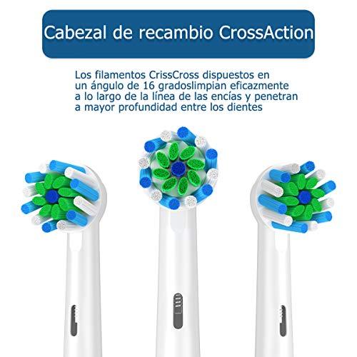 ITECHNIK Cabezal de Recambio Para oral- b cepillo de dientes eléctrico recargable,  Recambios Para Cepillo de Dientes EB50 Action Cross for recambios cepillo oral b (16)