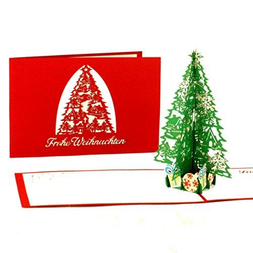 Pop Up Karte Tannenbaum.3d Pop Up Karte Weihnachten Tannenbaum Geschenke Edle Filigrane Weihnachtskarte Mit Umschlag