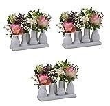Keramikvasenset Blumenvase Keramikvasen bunt/weiß Vase Blumen Pflanzen Keramik Set Deko Dekoration (3 Sets je 7 Vasen, weiß)