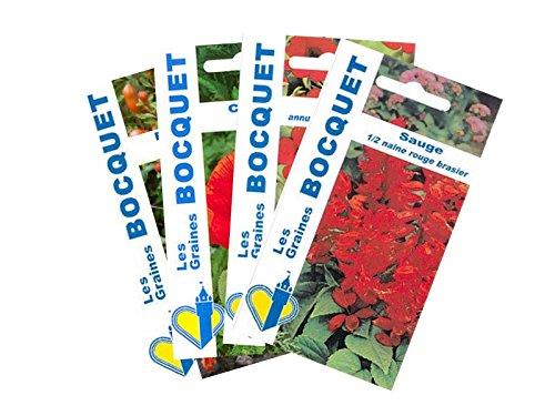 Lot de 4 sachets de Graines de Fleurs Rouges - Graines florales à semer