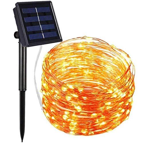 Solar String Lights Outdoor, 200 LED Solar Powered Fairy Lights 65ft 8 Modi Kupfer Draht Lichter wasserdichte Innenbeleuchtung für Garten Patio Yard Baum Party Hochzeit Schlafzimmer, warmweiß