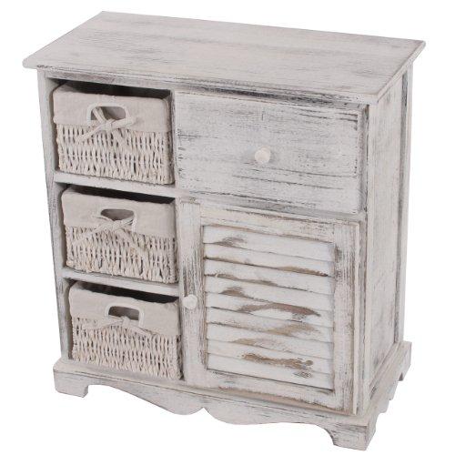 Eine Schublade Schrank Fertig (Kommode Schrank mit 3 Körben 63x60x30cm, Shabby-Look, Vintage ~ weiß)