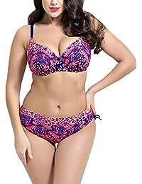 DianShao Mujer Imprimir Bikini Tallas Grandes Push Up Traje De Baño Playa Set