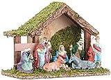 Britesta Weihnachts-Krippen: Klassische Holz-Weihnachtskrippe, handbemalte Porzellan-Figuren, klein (Krippen-Stall)