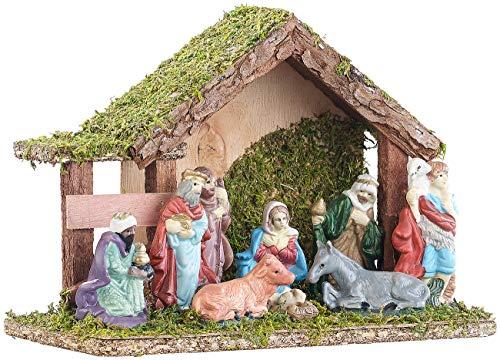 Britesta Deko-Weihnachtskrippe: Klassische Holz-Weihnachtskrippe, handbemalte Porzellan-Figuren, klein (Krippen-Ställe)