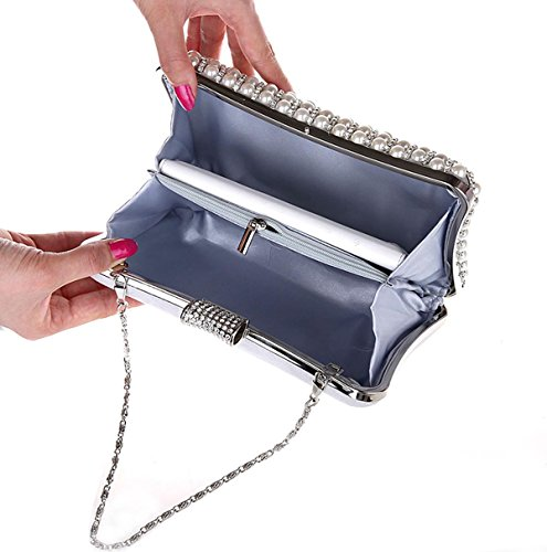 KAXIDY Imitation Perle Strass Designer Damentasche Tasche Clutch Handtasche Abendtasche Brauttasche Silber