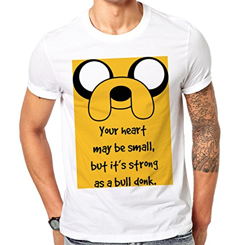 Adventure Time Quote Life Wisdom Jake The Dog Your Heart May Be Small, But ItÕs Strong As A Bull Donk Yellow Square Herren T-Shirt Weiß