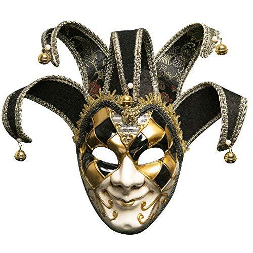 Maske Gesichtsmaske Joker Karneval Fasching Maskenball Karneval MZ011 (Black) ()