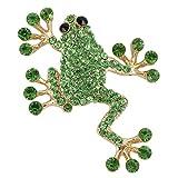 TENYE cristal austríaco Lovely saltando rana broche Pin verde tono dorado