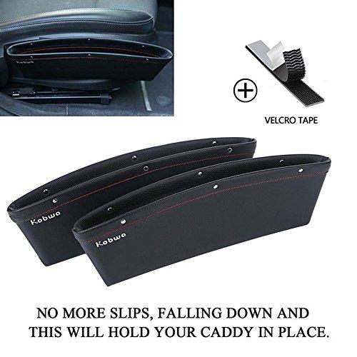 KOBWA boîte de rangement de siege, siege auto poche organisateur de voiture écart fuite voiture accessoires entre siège et console (lot de 2, noir)
