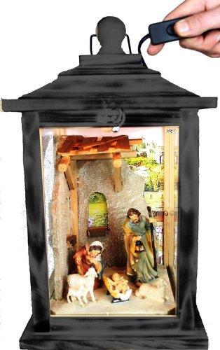 KLG-MFOS-SCHWARZ Holzlaterne, Weihnachtskrippe MIT KRIPPENFIGUREN,Figuren, mit Beleuchtung 220V, Laterne aus Holz schwarz, anthrazit lasiert mit Lasur auf Wasserbasis