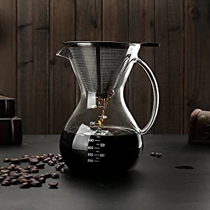 Sheny Pour Over Coffee Maker hand drop drip pot with stainless steel filter high borosilicate glass material