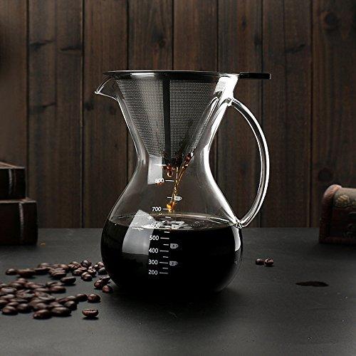 Sheny pour over Kaffeebereiter Hand Kaffee Edelstahl Handfilter +Glaskörper (800ml)