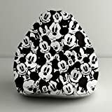 "Orka Disney ""Mickey Mouse"" Digital Printed Bean Bag Small Filled With Beans - Black& White"