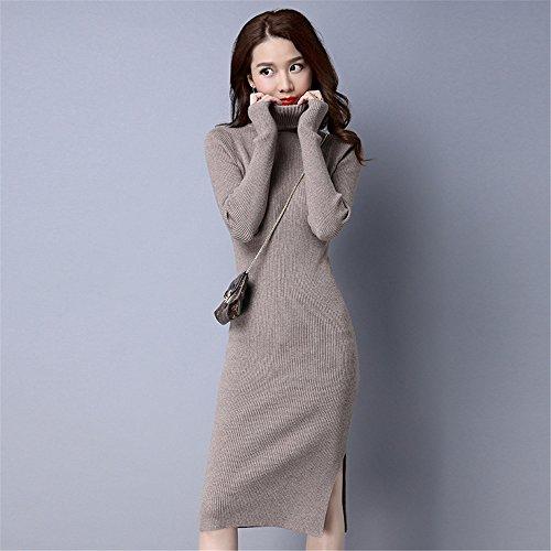 Damen Stricken Kleid Rollkragen Pullover Kleid Winter