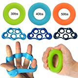 Grofitness Accessoire d'étirement de la main et des doigts en caoutchouc, 3 finger bands+ 3 rings