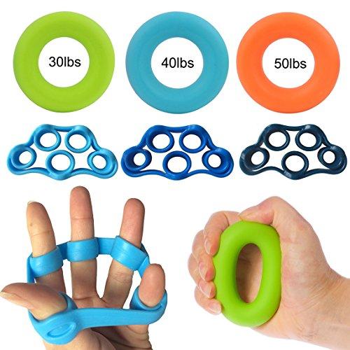 Set di molle ginniche per mani Grofitness, in gomma, con fori per le dita, 3 finger bands+ 3 rings