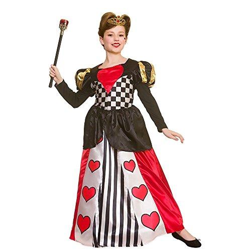 Of Hearts Queen Kostüm Kind Deluxe - Deluxe Queen of Hearts Childrens Fancy Dress Costume Dress & Crown-Medium 5-7 Years