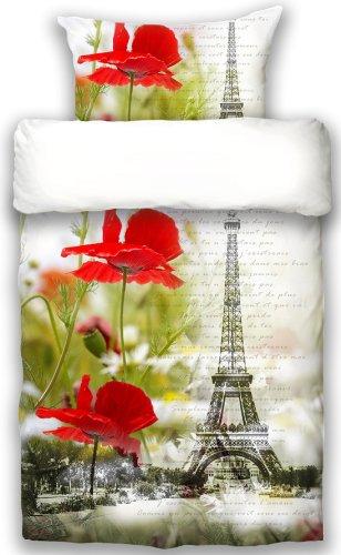 beties Je t`aime Paris Wendebettwäsche ca.155x220 + 80x80 cm Mako Satin Luxus Baumwolle Digitaldruck Farbe Weiß Rot gelümt Paris Eiffelturm Bettwäsche