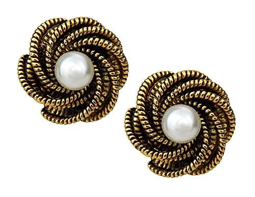 Ella Jonte Ohrclips gold weiß Perle Perlenohrringe Ohrringe Perlen Clips