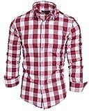 Amaci&Sons Herren Kariertes Slim-Fit Trachtenhemd Bügelleicht Oktoberfest Karo Hemd 5005 Bordeaux L