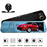 ROGUCI 4.3 '' Rétroviseur inversé Moniteur LCD + 170 degrés Grand angle Nuit Version et Waterproof Back-up Camera Car DVR Enregistreur vidéo Dash Cam Parking Sensor System