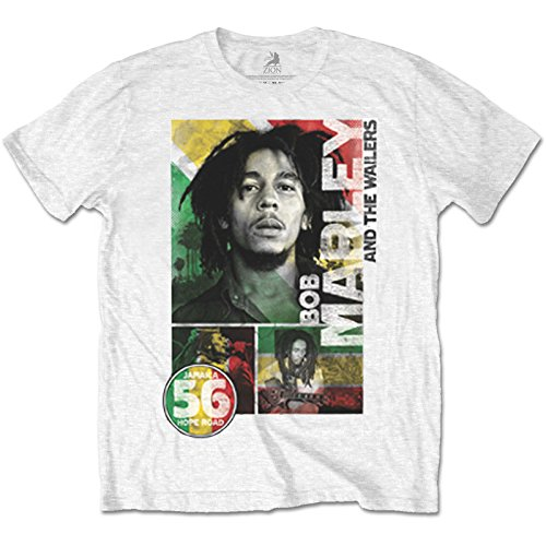 Rockoff Trade Herren T-Shirt Bob Marley 56 Hope Road Rasta, Weiß White, ()