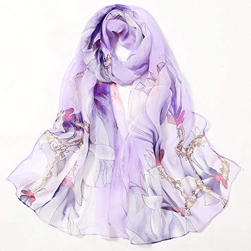 CHYLYM Eleganter Schal, weicher Griff und warmer Frauenschal, Chiffonblume, Druck, weicher Schal, verwirrter Schal@Hellviolett_160 * 50CM -
