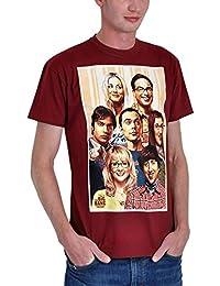 T-shirt Big Bang Theory motif rétro avec Sheldon & Co bordeaux