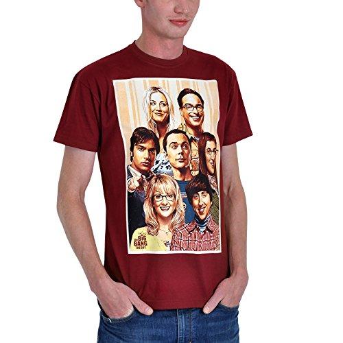 Big Bang Theory T-Shirt Retro Motiv mit Sheldon & Co bordeaux - (Kostüm Theory Big The Bang Penny)