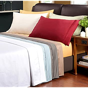 1200 Thread Count 100% Premium Long-Staple Combed Cotton, Single Ply, Full Bed Sheet Set, Solid, White