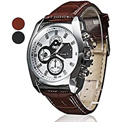 Men's Analog Quartz Watch with Leather Strap Brown
