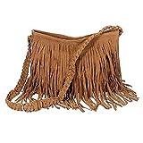 Moon Fashion Fransentasche Damentasche aus Wildleder Beutel Taschen Schultertasche Umhängetasche mit Reissverschluss