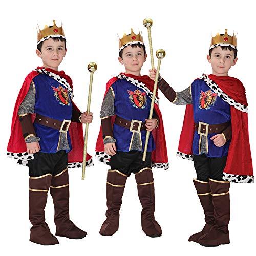 Gift Tower König Kostüm Kinder Jungen Faschingkostüm Kinderkostüme Karneval Mehrfarbig M/für 110-120cm (Kinder Krippe König Kostüm)