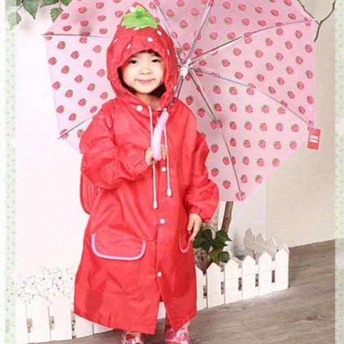 HuntGold Süß Kinder Jungen Mädchen Regen Mantel Outwear mit Kapuze wasserdichte Regenjacke Cartoon (rot)