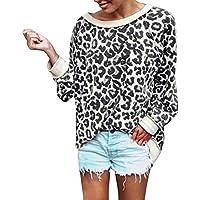 ¡Gran promoción!★Rovinci★ Leopardo de Las Mujeres de Manga Larga Suelta Sexy Diario Diario Tops Camiseta Blusa de Las señoras