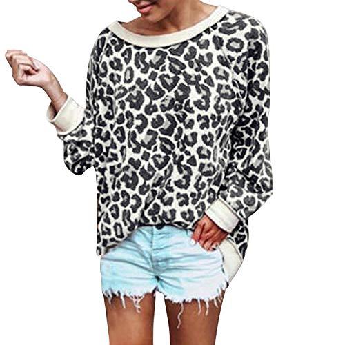 Sexy Kostüm Leoparden - Battnot❤ Damen Bluse Leopardenmuster Langarm Elegant Casual Rundhals Pullover, Frauen Sexy Slim Fit Tunika Sweatshirts Hemd Kostüm Womens Leopard Printed Tops Oberteile S-XL Gelb Schwarz Rot Grau