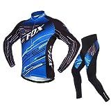 Shinmax Mens de la Bici de la Bici Jersey y las Medias Acolchadas de los Pantalones de la Compresión 3D Fijaron el Equipo, ciclo de la Montaña del Muchacho Ciclo Jersey Bike que Monta la Bicicleta de la Ropa de la Bici Jersey Ropa de la Ropa de Deportes de la Manga de la Ropa Jerseys de Ciclo (Azul, XXL (pecho 42.5 'manga 31.5' cintura 31.5 '))
