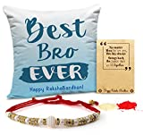 #8: TiedRibbons Rakhi for Brother with Gift Combo Printed Cushion(12 Inch X 12 Inch) with Rakhi and Roli Chawal pack