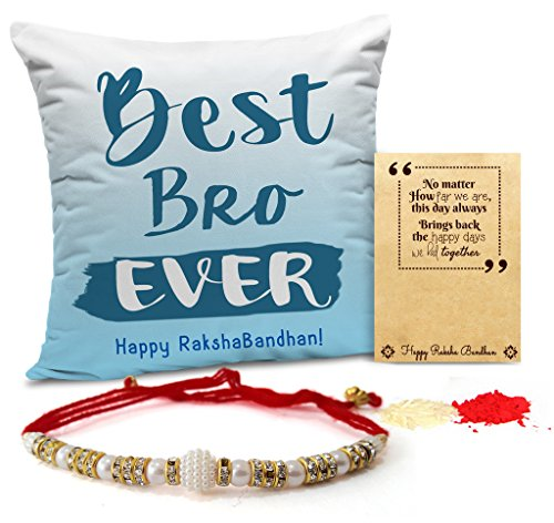 TiedRibbons Rakhi for Brother with Gift Combo Printed Cushion(12 Inch X 12 Inch) with Rakhi and Roli Chawal pack