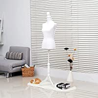 HOMCOM Female Mannequin Torso Dummy Display Bust Dressmakers Fashion Designer Clothing Tripod Stand Adjustable Height w/Wooden Base - Black