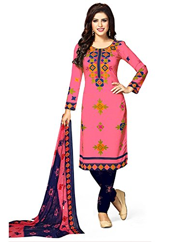 Jevi Prints Women's Unstitched Synthetic Crepe Pink & Blue Block Printed Salwar...