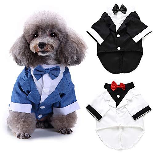 Catkoo Gentleman Hund Hemd Welpen Haustier Kleidung Kleidung Fliege Kostüm Katze Hochzeit Hemd formell Smoking mit schwarzer Krawatte Hund Prince Hochzeit Fliege - Prince Charmant Kostüm