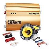 Auna 2.0 Car HiFi Set Golden Race V1-5 Auto Endstufe mit Boxen (2X 500W max. 13cm Einbaulautsprecher, 2200W Verstärker, inkl. Kabelset) Gold