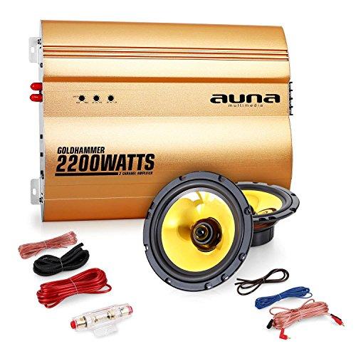 """Auna """"Golden Race V1"""" Set car audio 2.0 Casse Amplificatore (2200 Watt, coppia altoparlanti 13 cm, membrana d'oro, set completo di cavi)"""