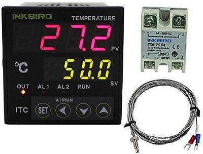 Inkbird Dual Rele 220V Digital PID Termostato ITC-100VH Temperatura Controlador LCD Monitor + 25DA SSR Rele de Estado Solido + K Tipo Sonda, pour Homebrew, Bomba de Agua