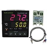 Inkbird Dual Rele 220V Digital PID Termostato ITC-100VH Temperatura Controlador LCD Monitor + 25DA SSR Rele de Estado Solido + K Tipo Sonda, pour Home
